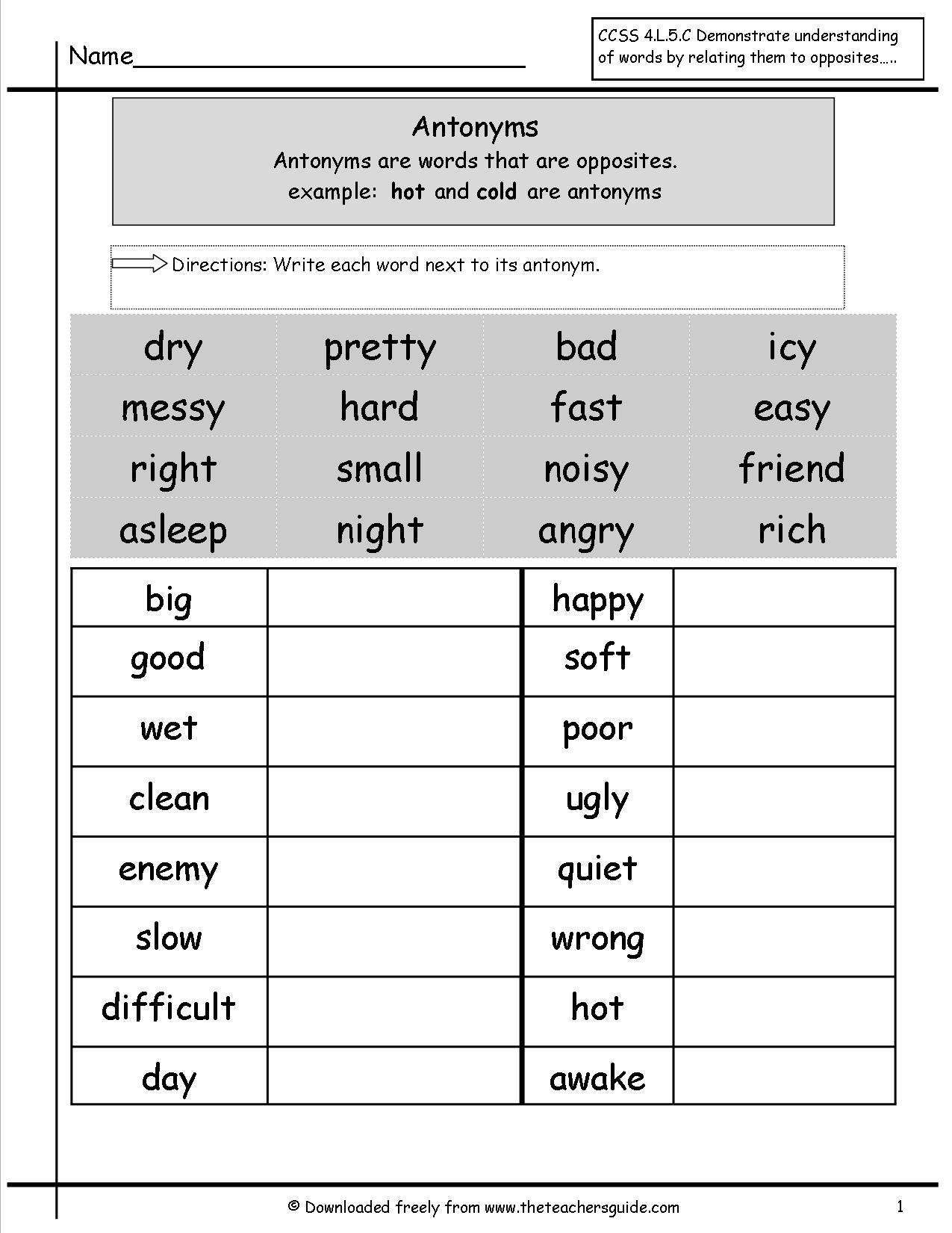 hight resolution of 5th Grade Worksheets Synonyms And Antonyms   Printable Worksheets and  Activities for Teachers