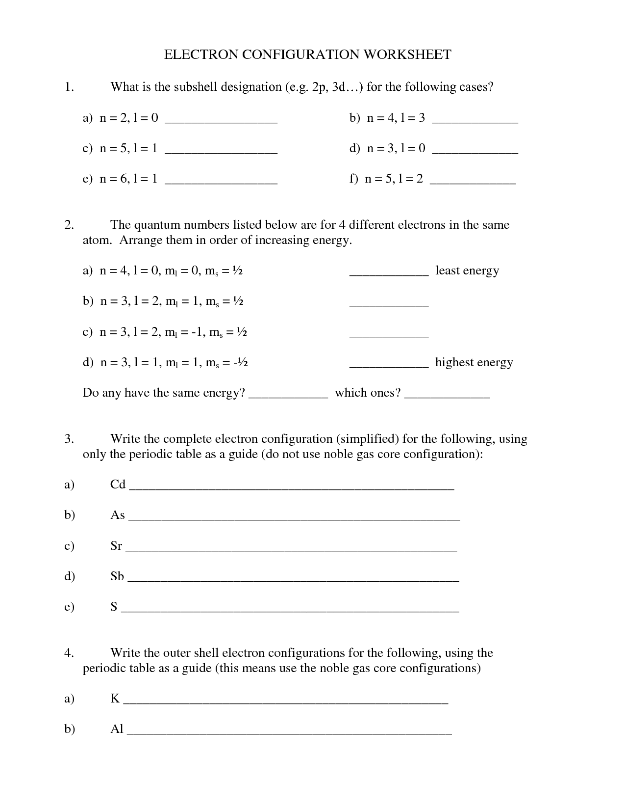 Worksheet For Electron Configuration