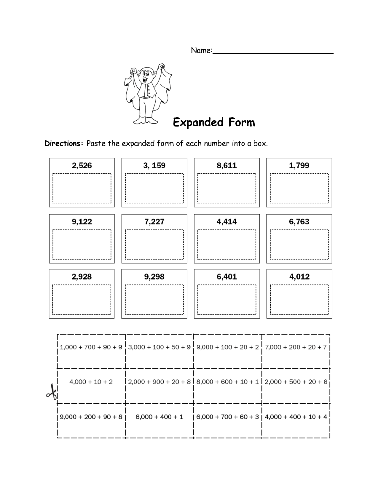 Standard Expanded And Word Form Worksheets 4th Grade