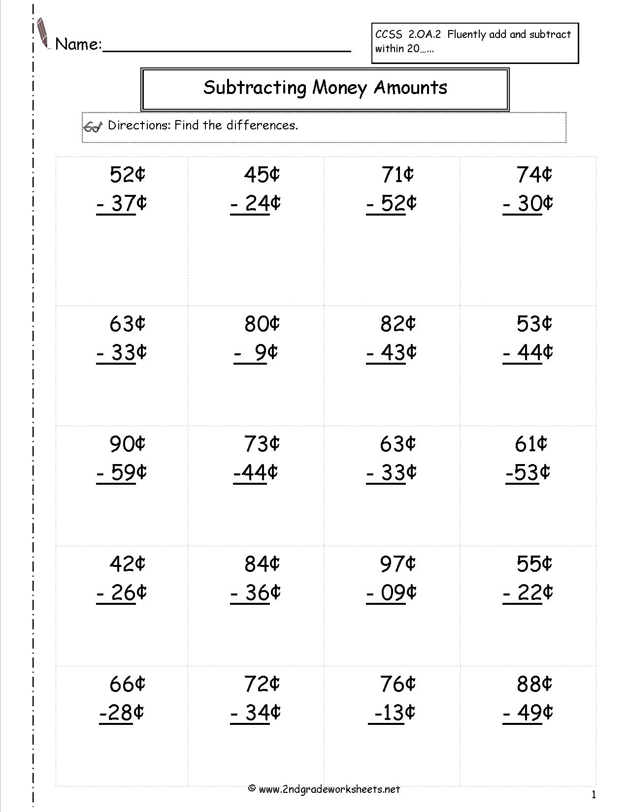 8 Best Images Of Adding And Subtracting Money Worksheets