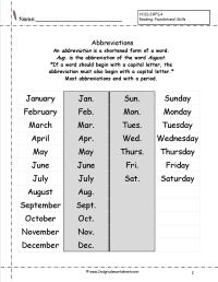 14 Best Images of Common Abbreviations Worksheet
