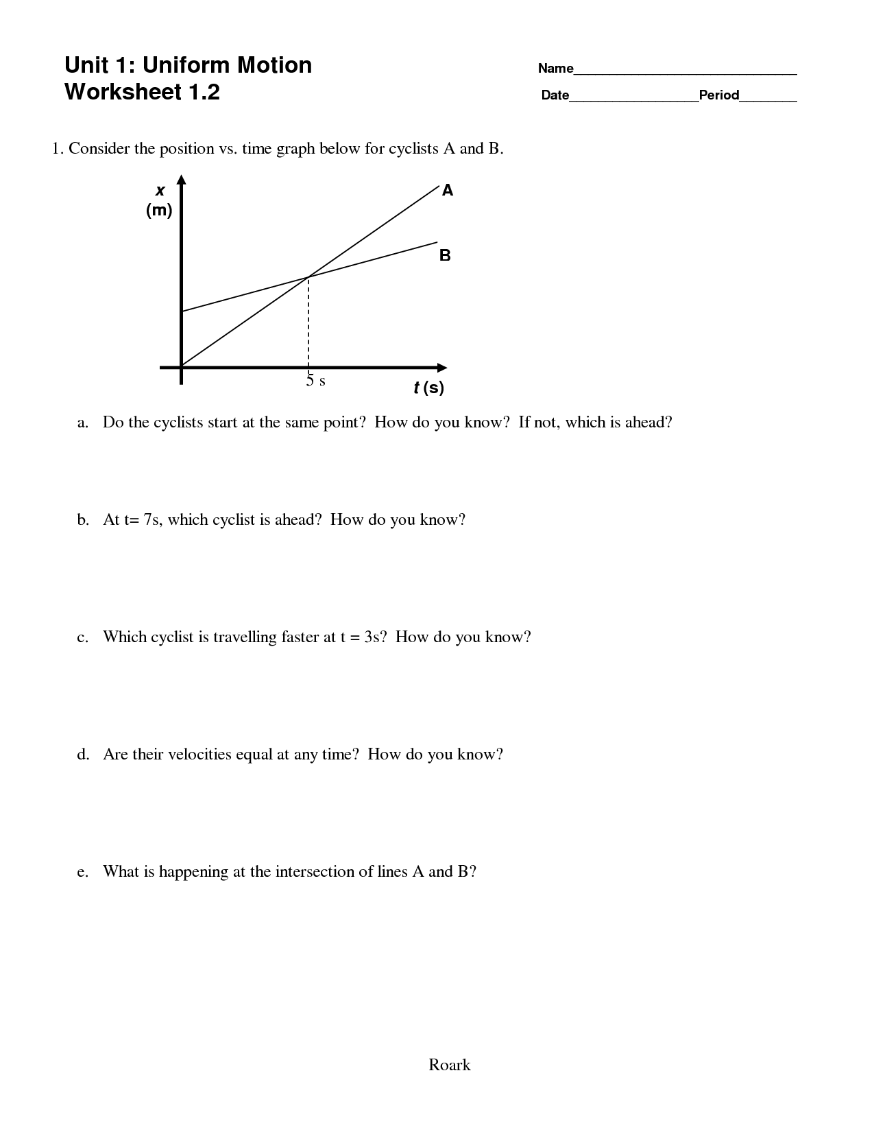 14 Best Images Of Velocity And Acceleration Worksheets