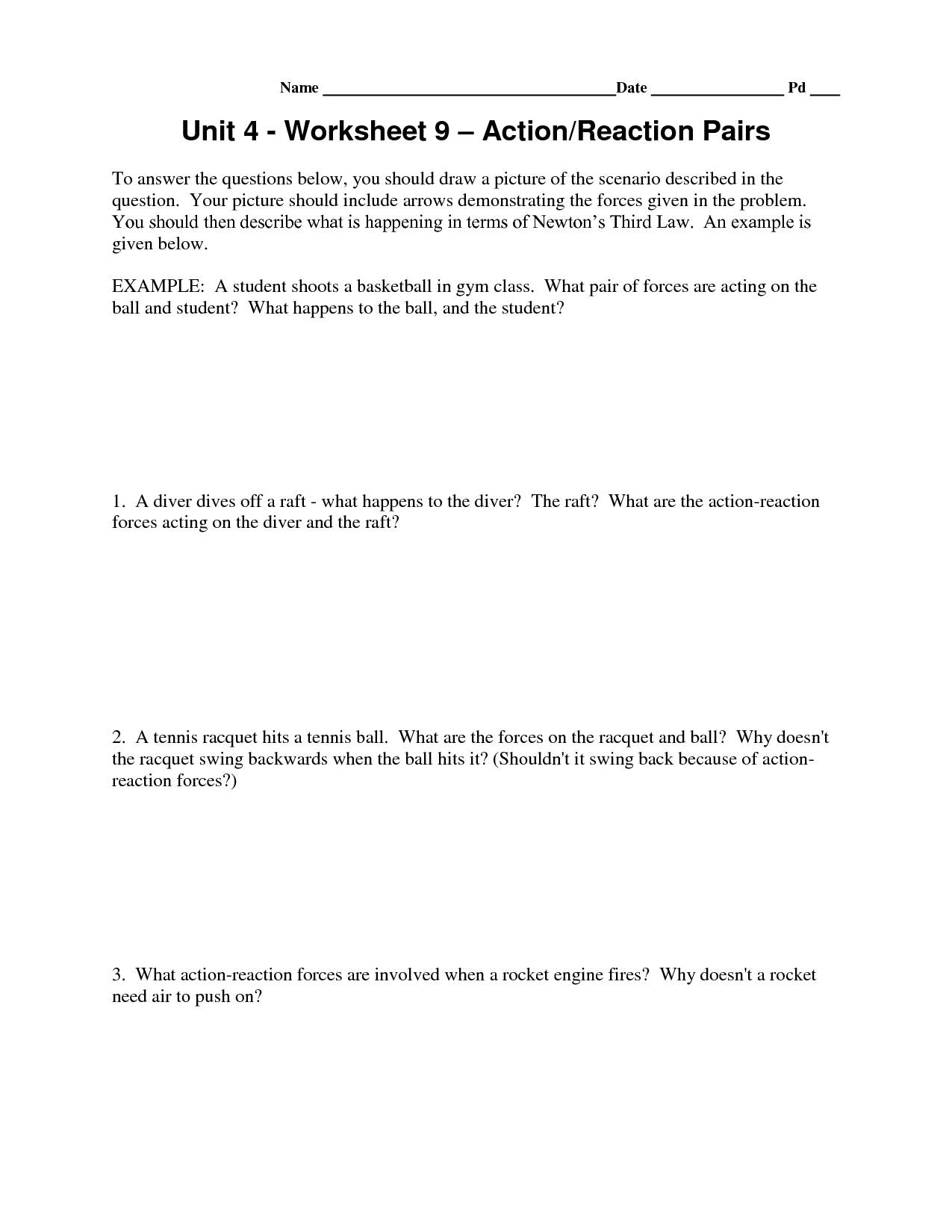 Newtons Third Law Of Motion Worksheet Answers