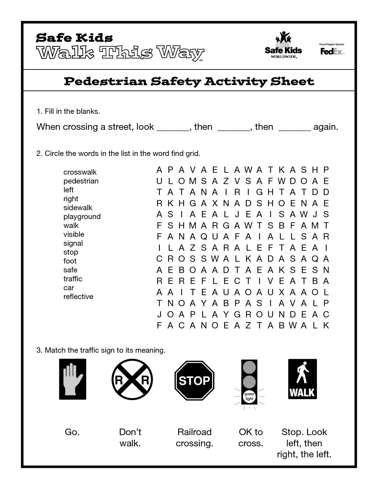 Kitchen Saftey Worksheet