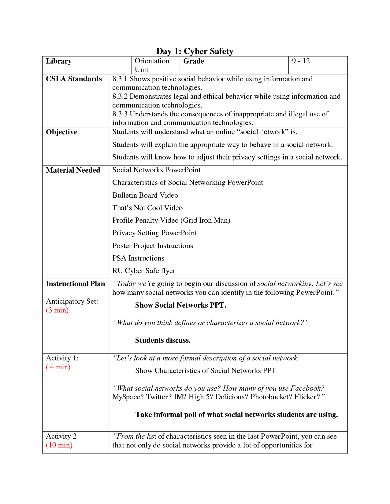 Safety Worksheet Adults