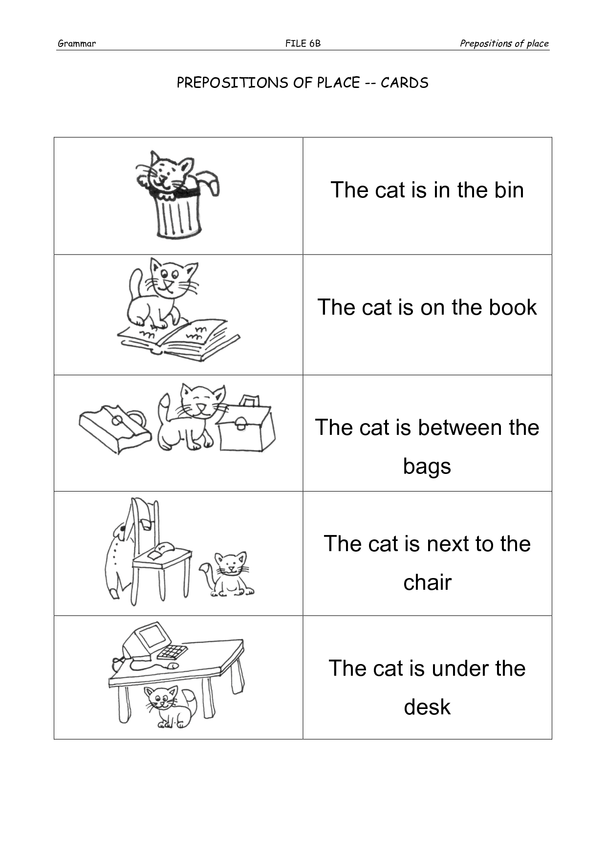 Exercises Using Prepositions Spanish Worksheet