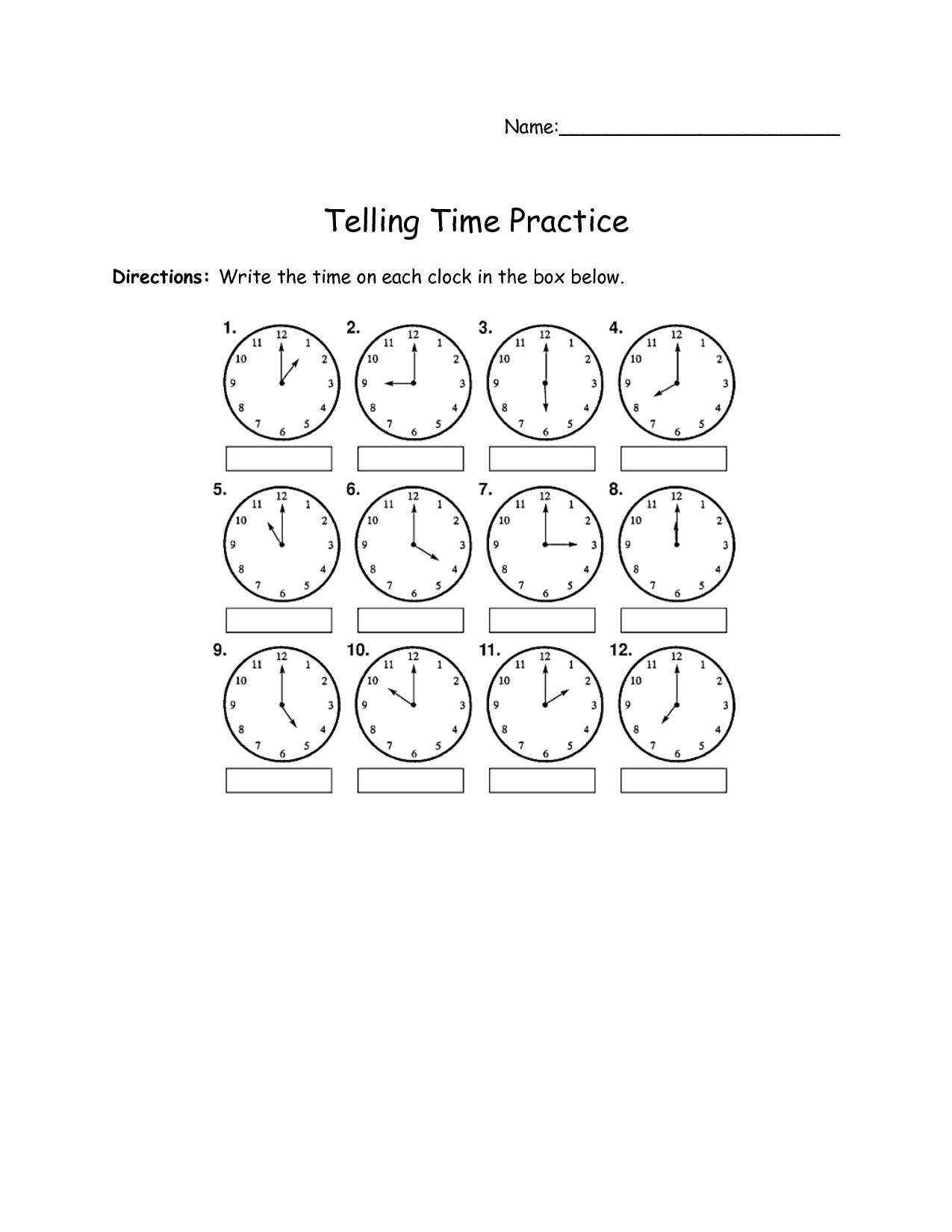 17 Best Images Of 1st Grade Clock Worksheets
