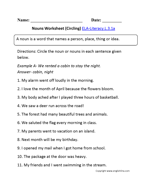 small resolution of Noun Worksheets For 3rd   Printable Worksheets and Activities for Teachers
