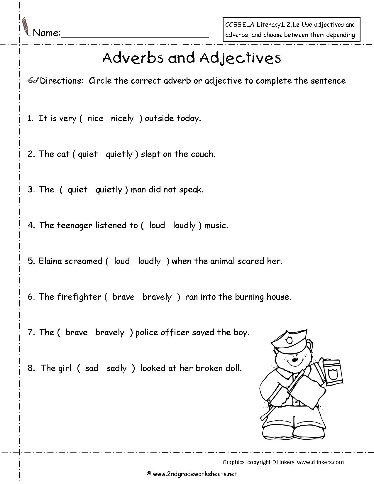 Adjective Worksheet For 6th Grade