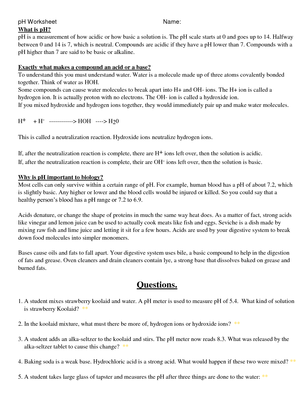 Beautiful Ph And Poh Calculations Worksheet Answers Breadandhearth