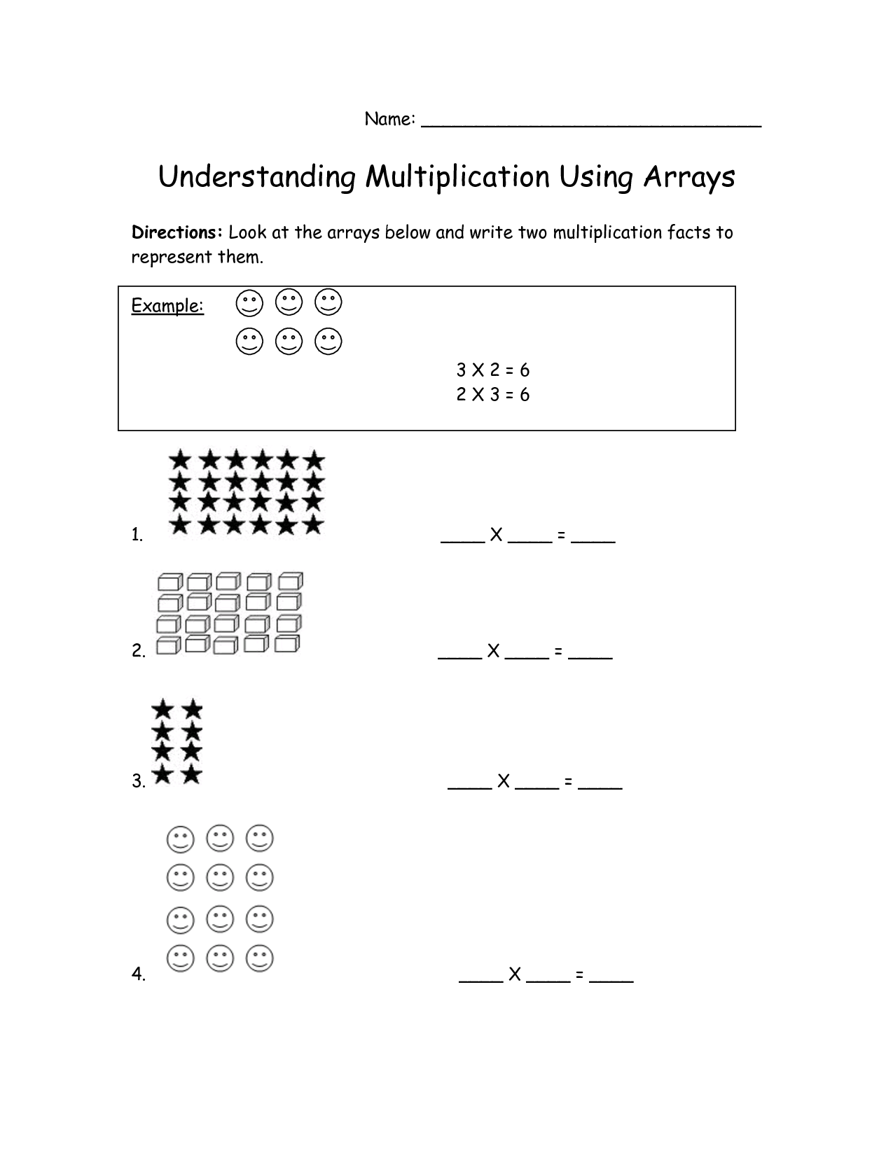 13 Best Images Of Array Worksheets Grade 2