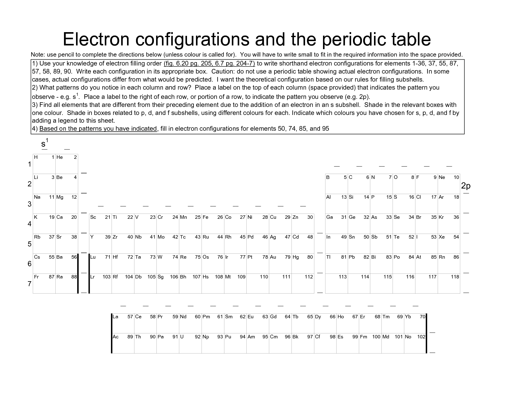 13 Best Images Of Electron Configuration Worksheet With