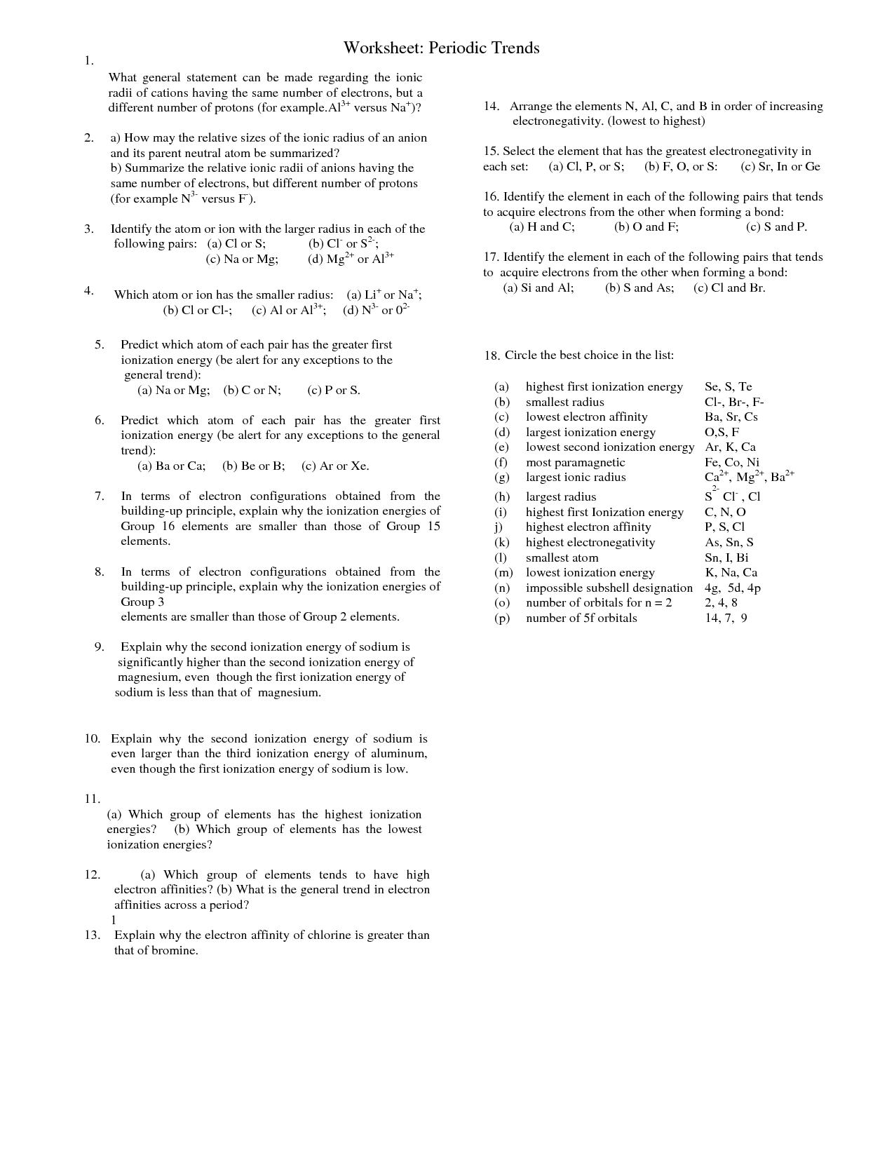 Worksheet Periodic Trends Answers