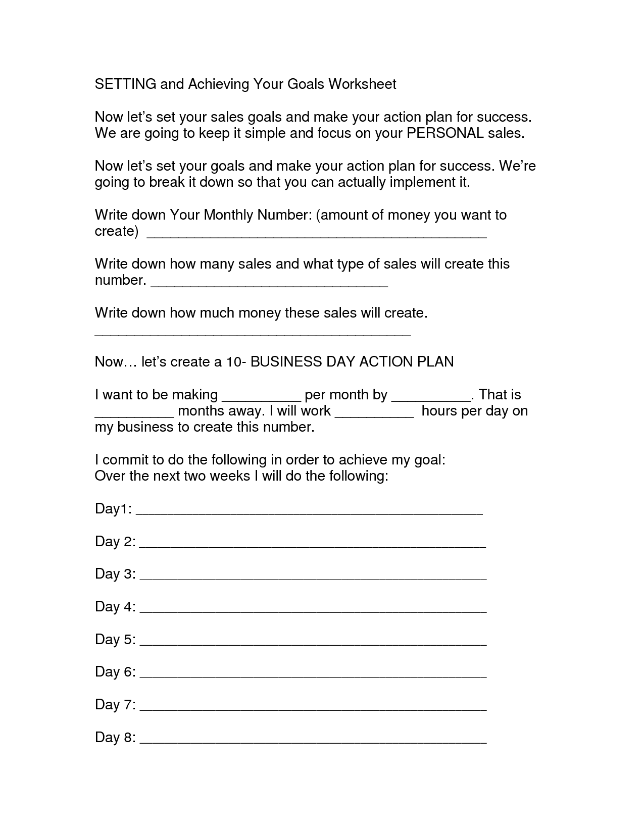 15 Best Images Of Weight Loss Goal Worksheet