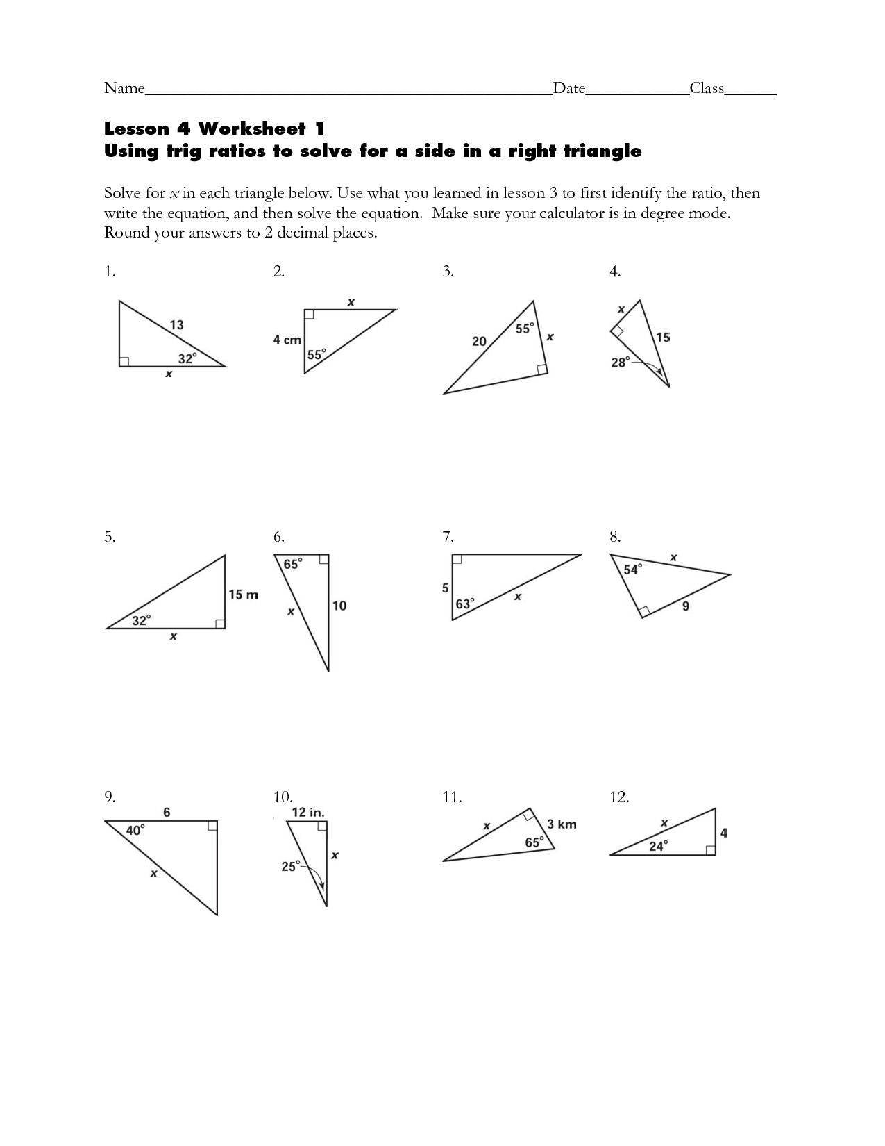 15 Best Images Of Right Triangle Trigonometry Word Problems Worksheets