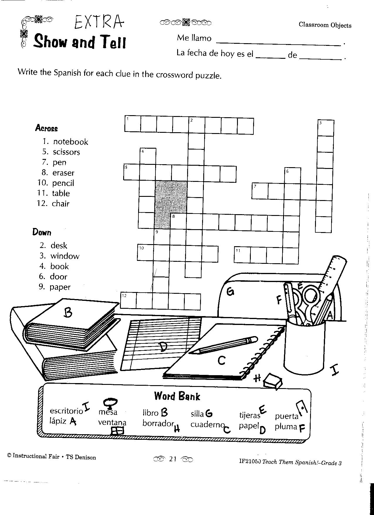 8 Best Images Of School Supplies In Spanish Worksheets