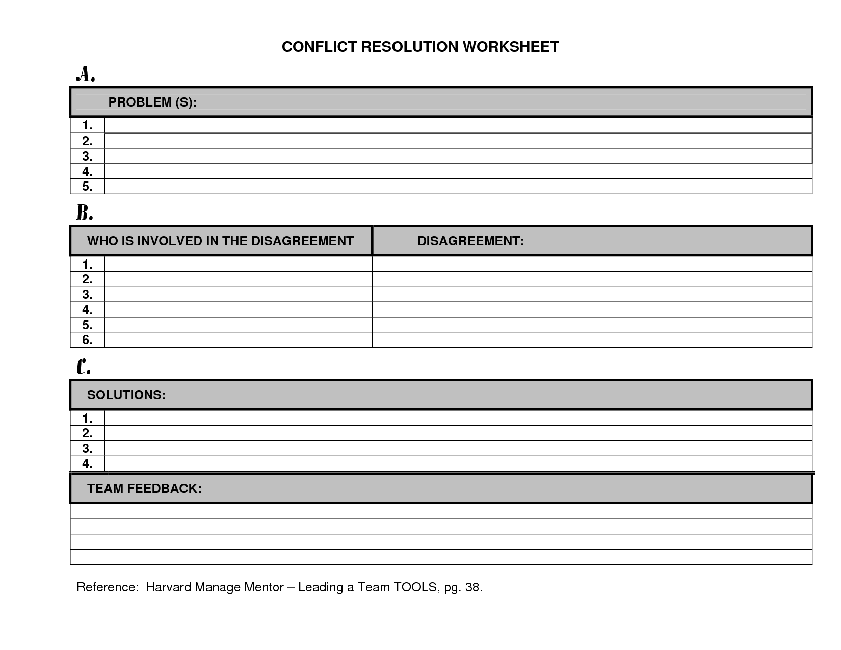29 Conflict Resolution Worksheet For Adults