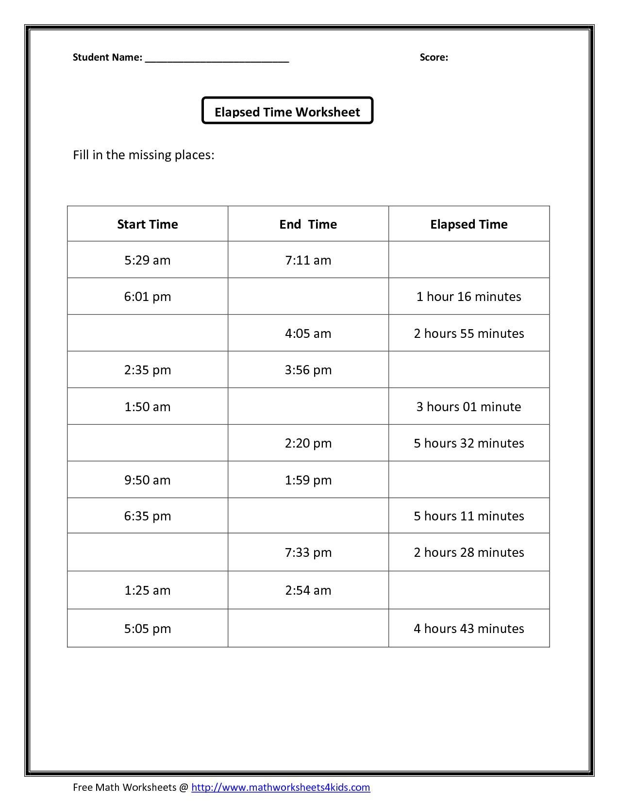 2nd Grade Clock Worksheet