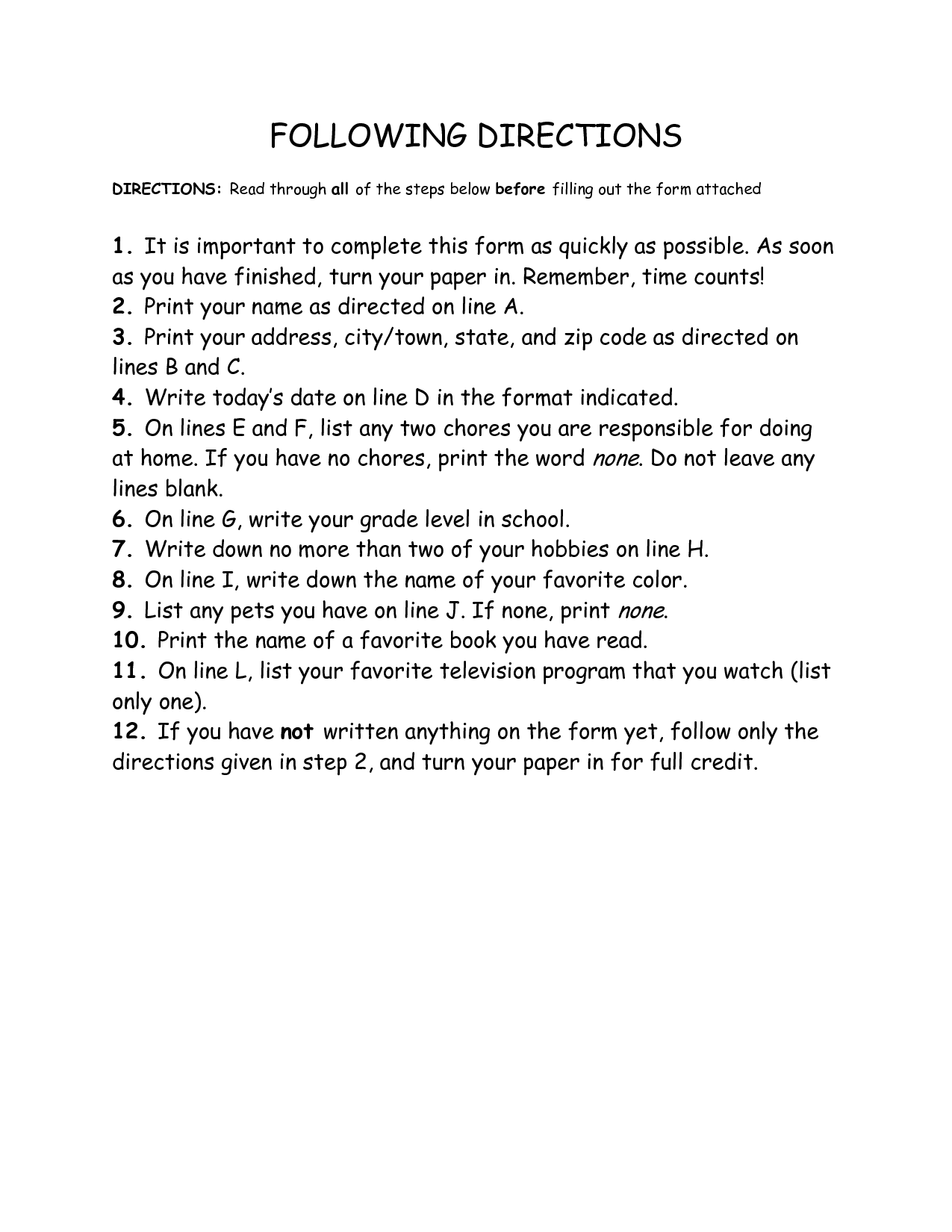 Following 2 Step Directions Worksheet For Preschoolers