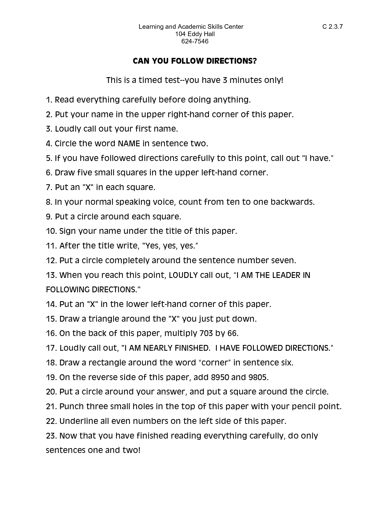 11 Best Images Of Following Directions Worksheets Middle
