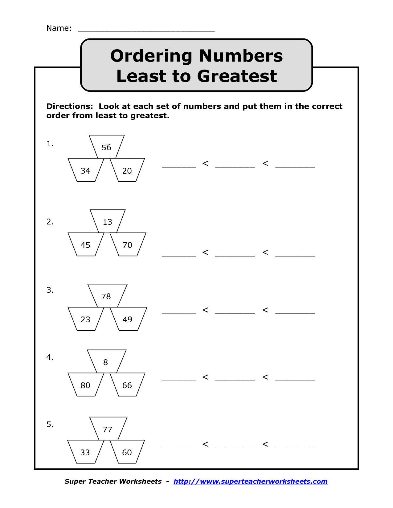 Least To Greatest Worksheet Simple