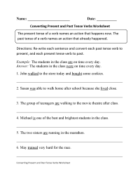 Past Tense Verb Test Pdf