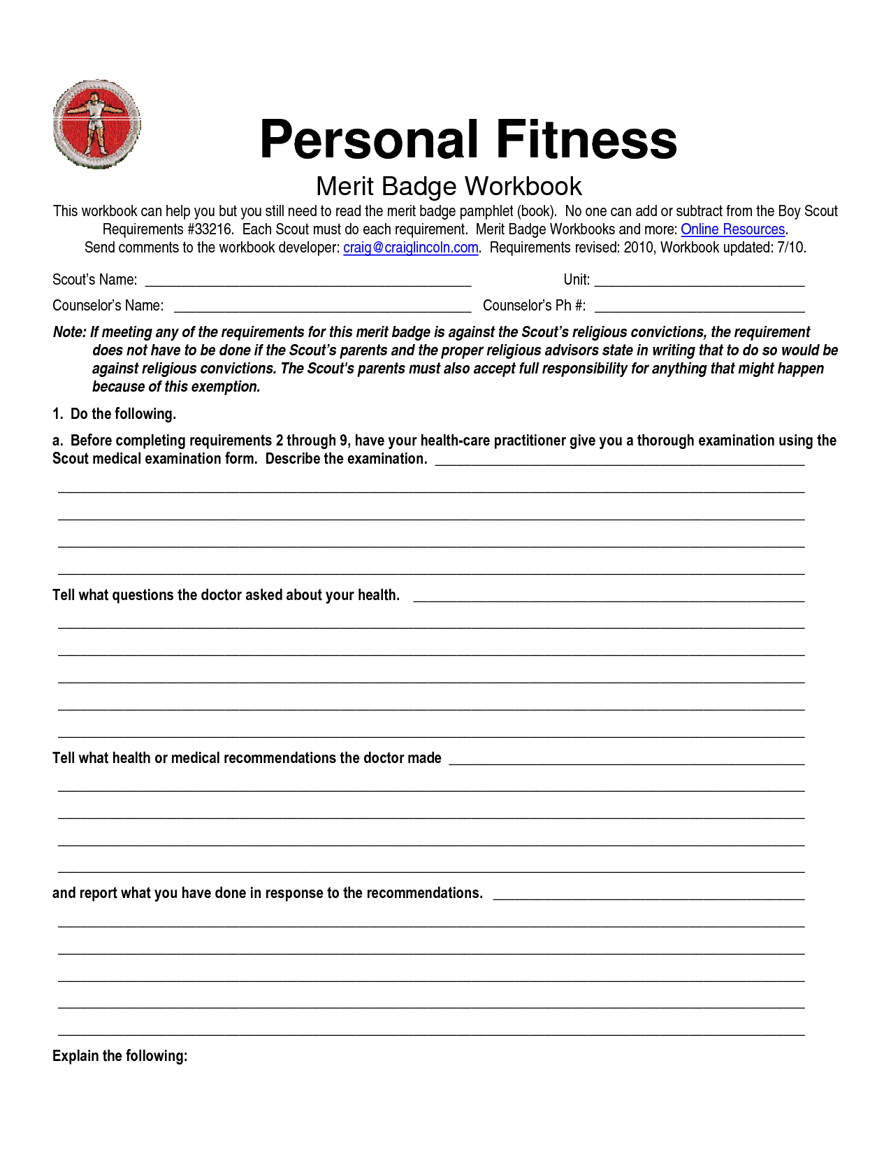 Boy Scout Personal Fitness Merit Badge Worksheet