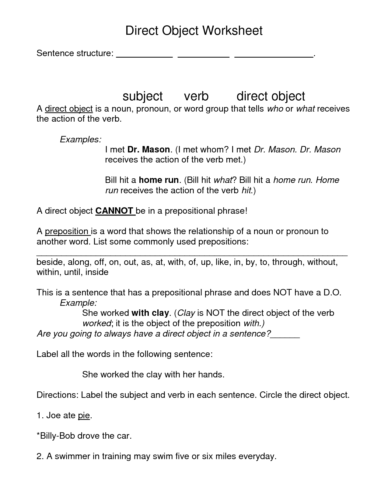 18 Best Images Of Objective Case Pronouns Worksheet