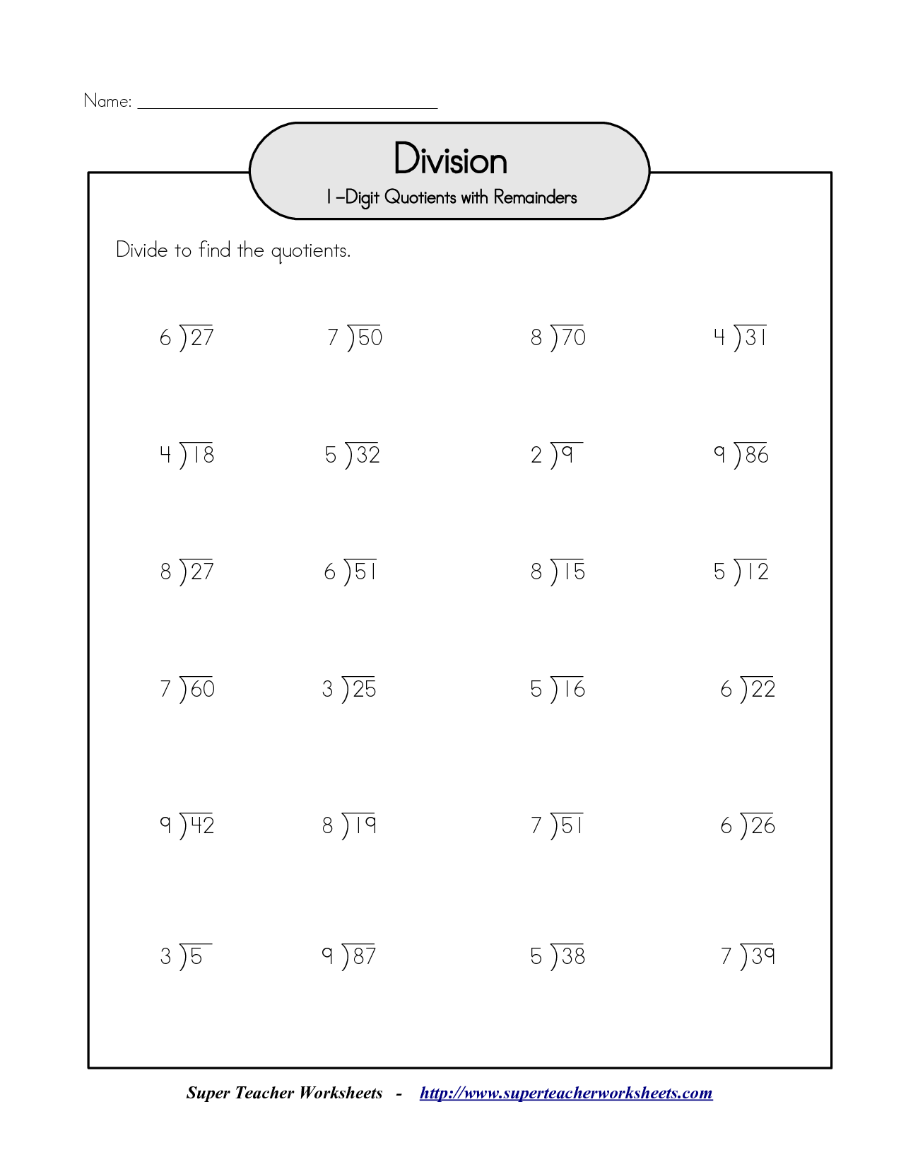 6 Best Images Of Long Division Worksheets Two Digit