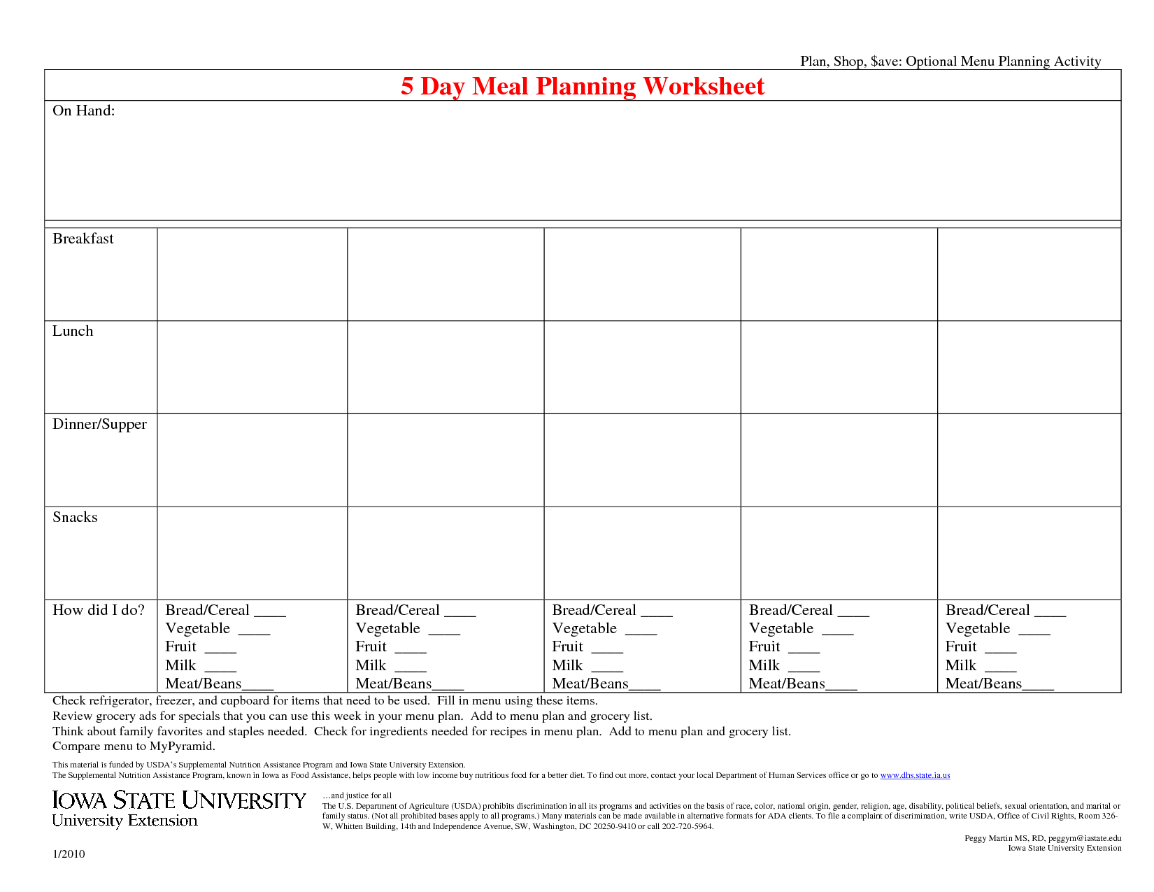 16 Best Images Of A Healthy Meal Plan Worksheet