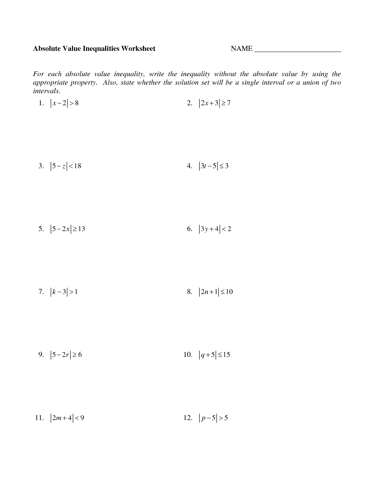 15 Best Images Of Two Step Inequalities Worksheets
