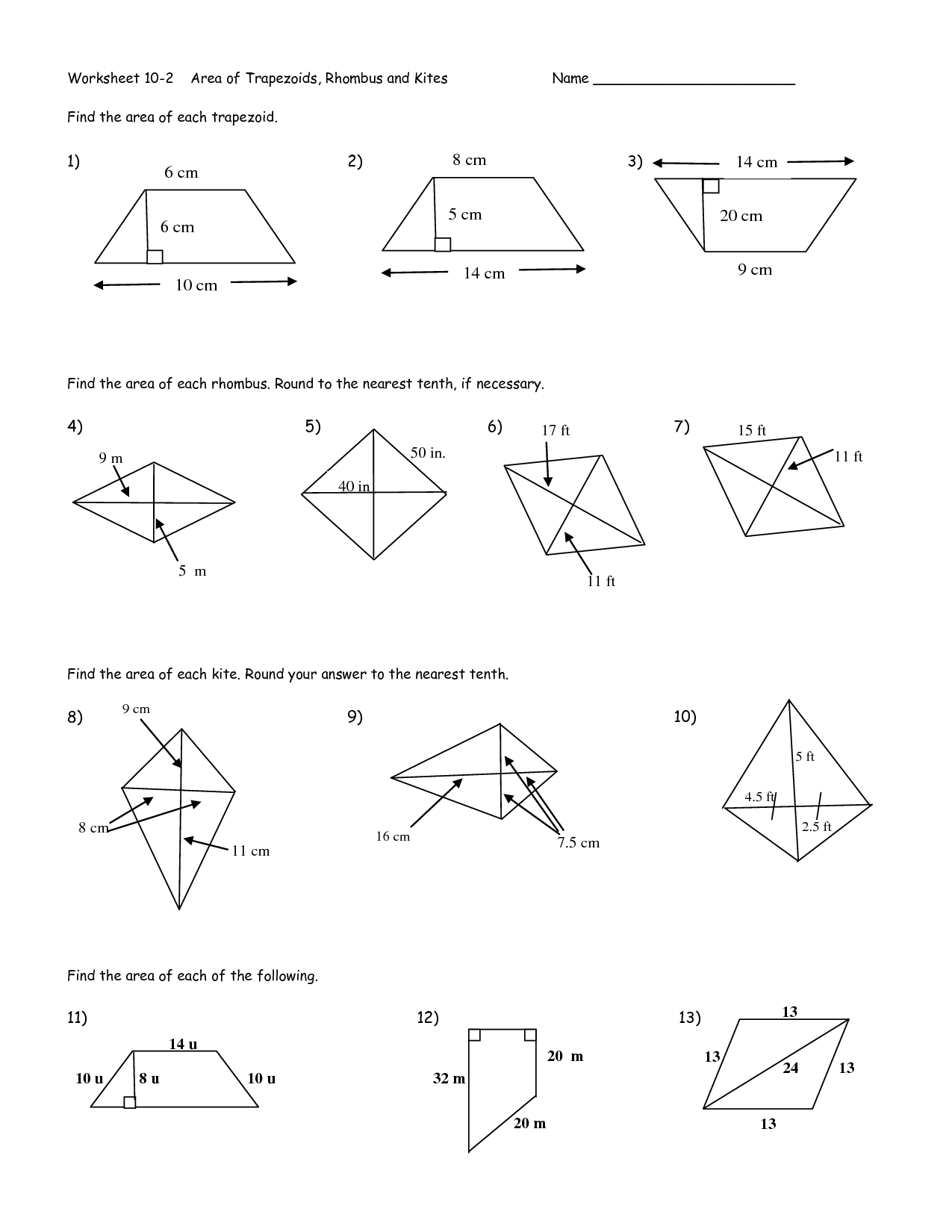 Worksheet Area Of T Zoid Worksheet Worksheet Fun