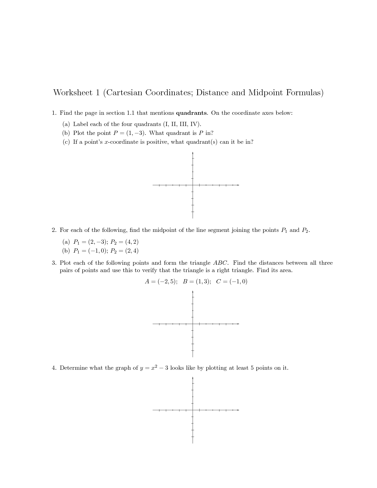 Midpoint Coordinate Plane Worksheet