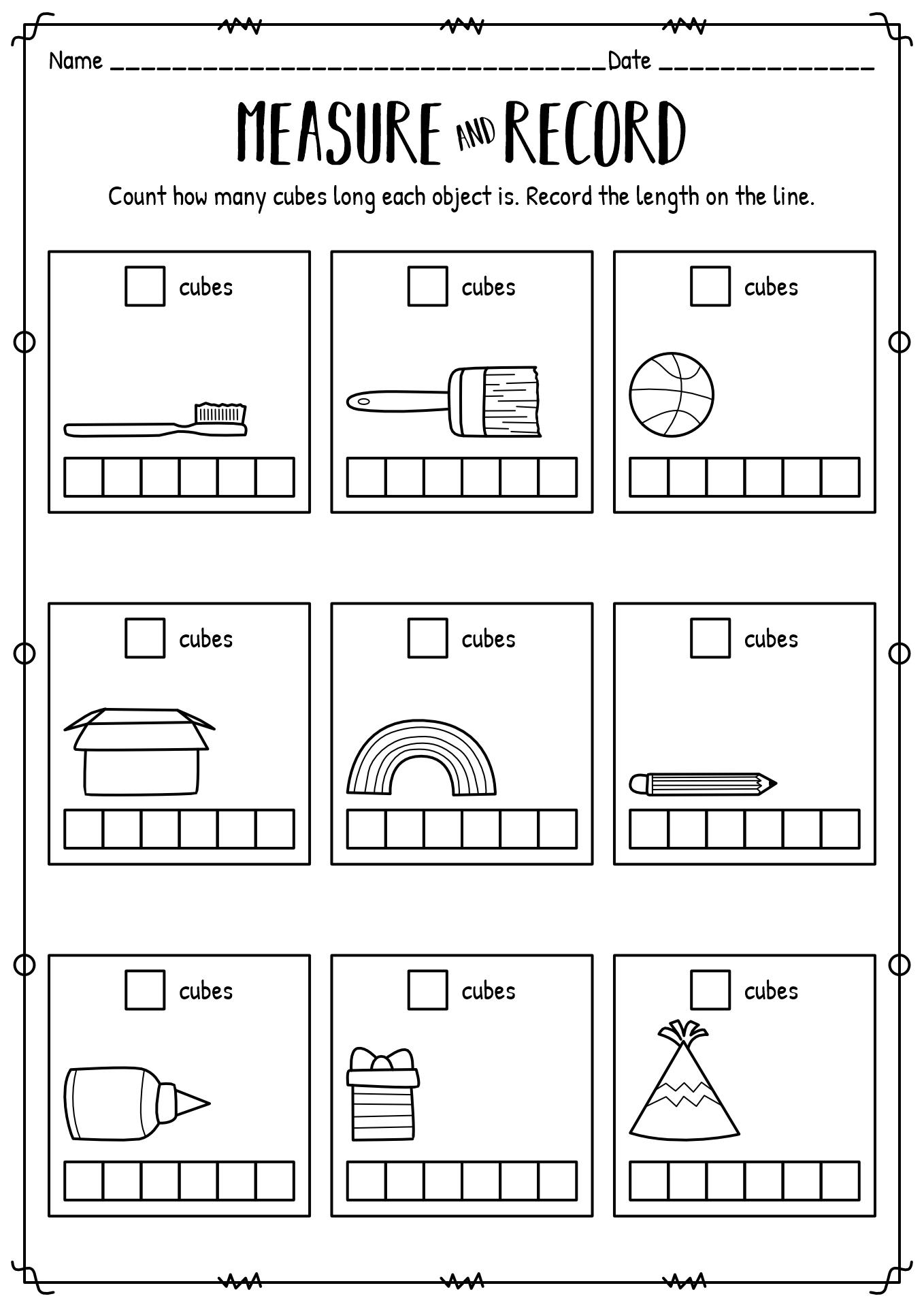11 Best Images of Kindergarten Measurement Worksheets Free