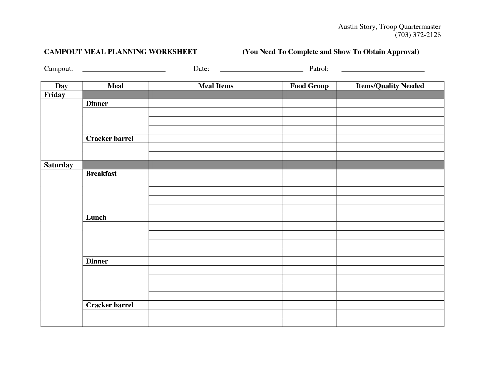 Healthy Meal Planning Worksheet