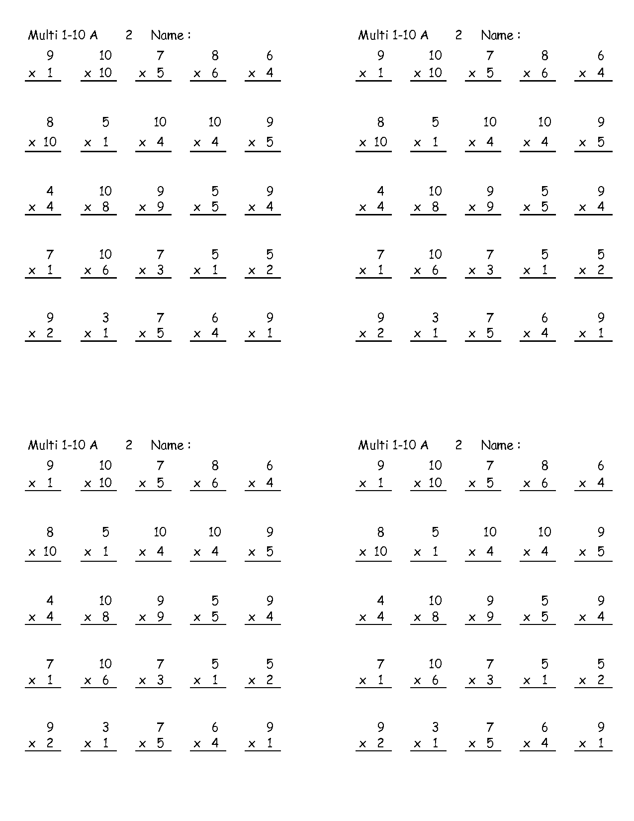 7 And 8 Multiplication Worksheets