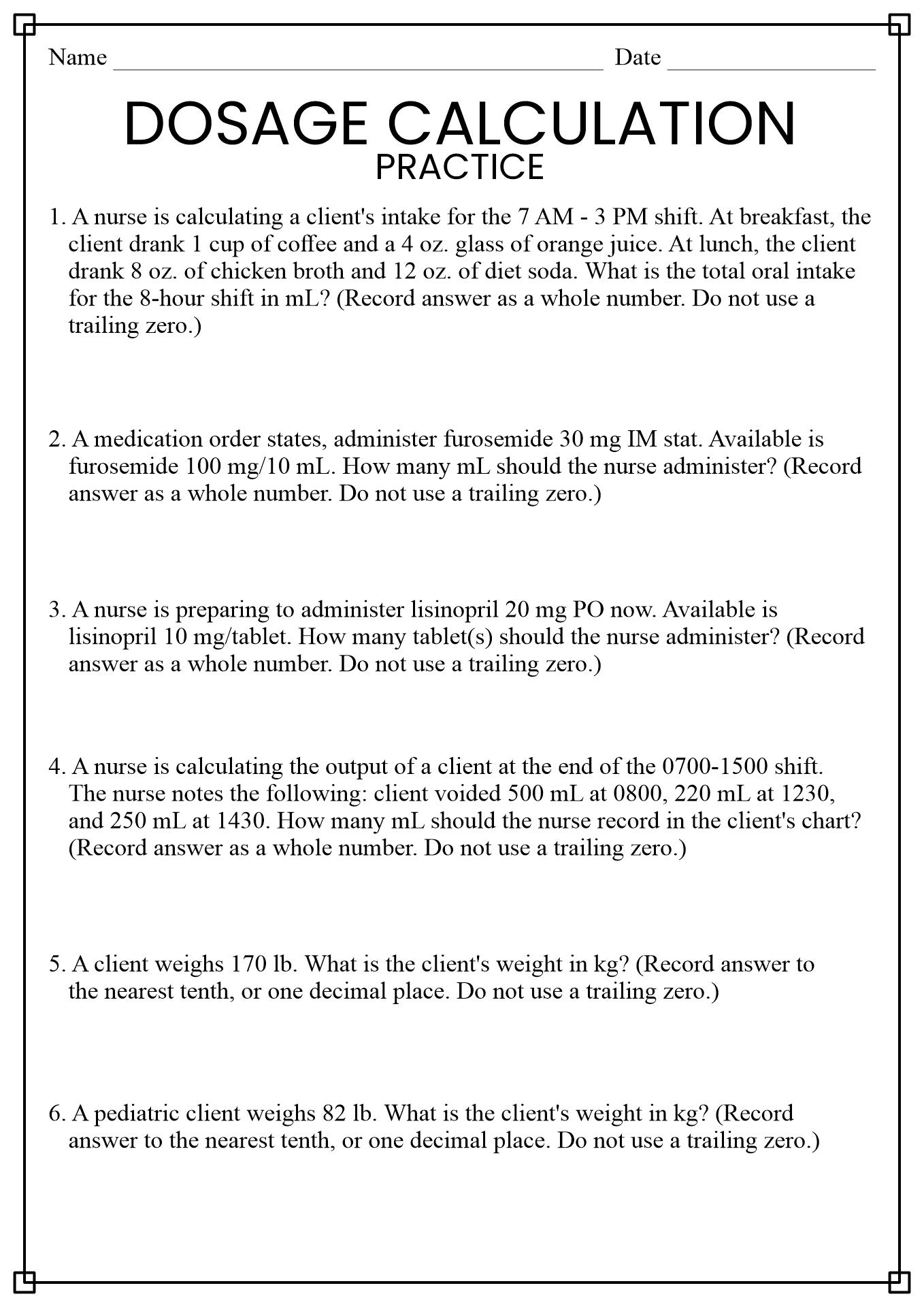 Nursing Math Worksheet Answers