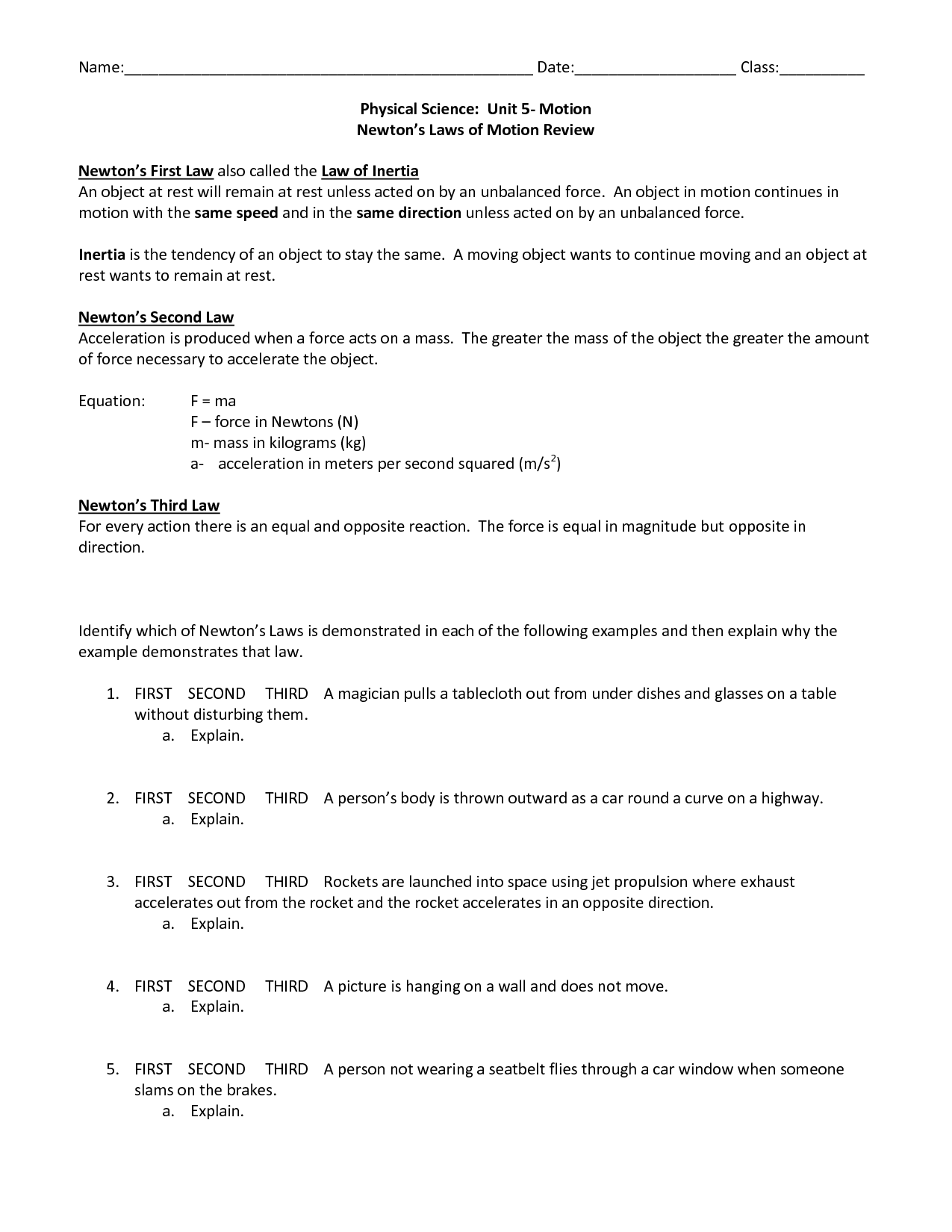 26 Physical Science Newtons Laws Worksheet
