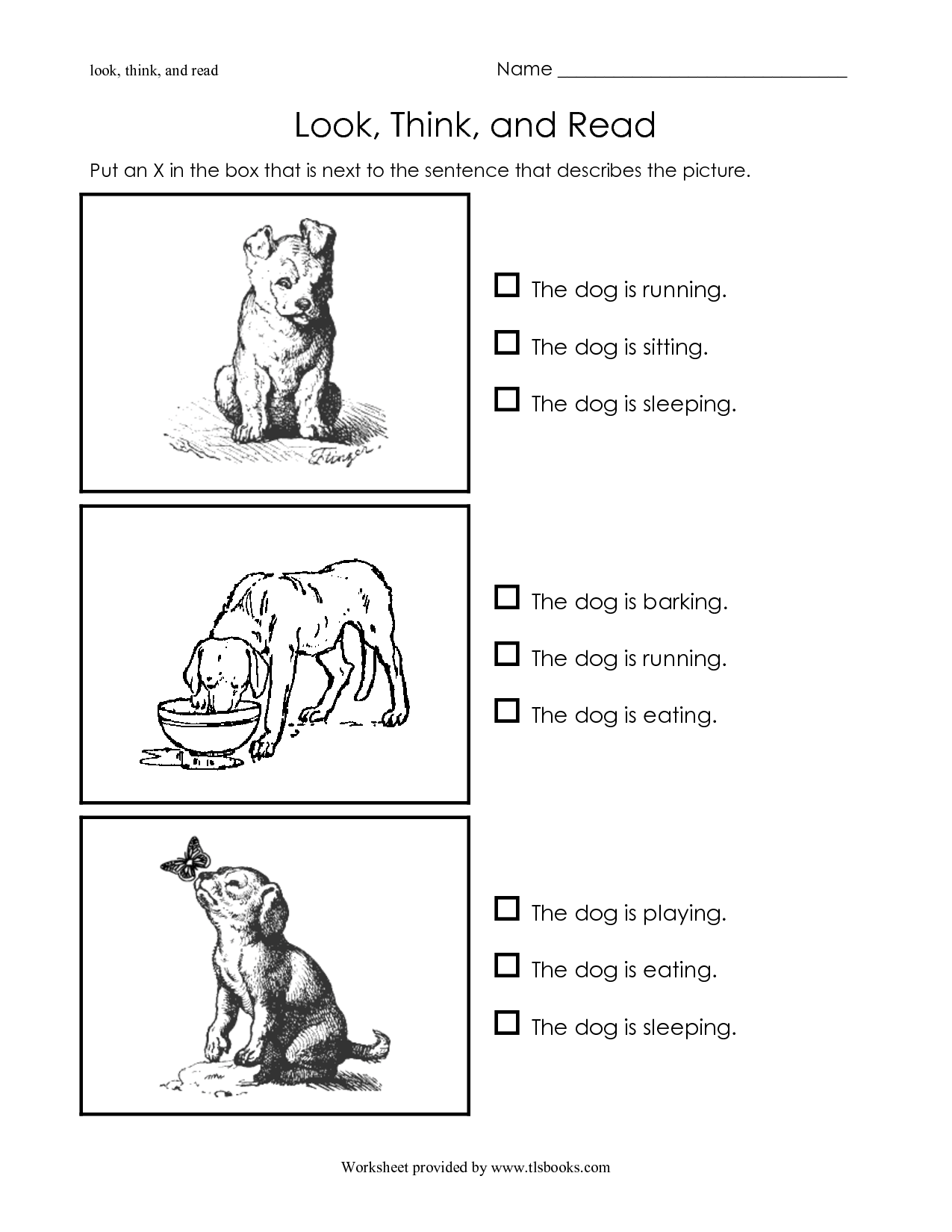 Special Needs Reading Worksheet
