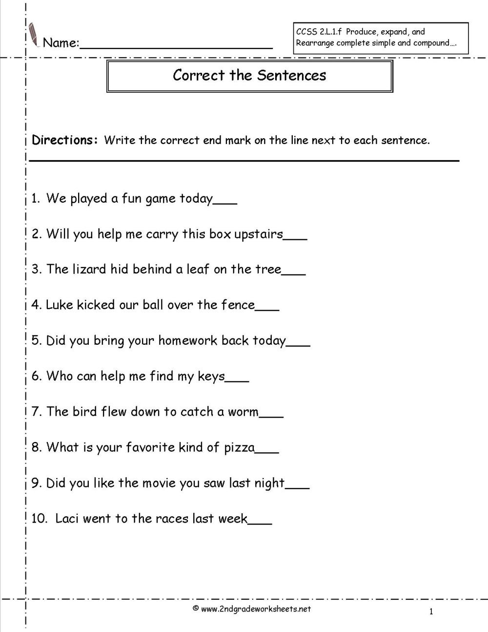 medium resolution of Types Of Sentences Worksheets Grade 2   Printable Worksheets and Activities  for Teachers