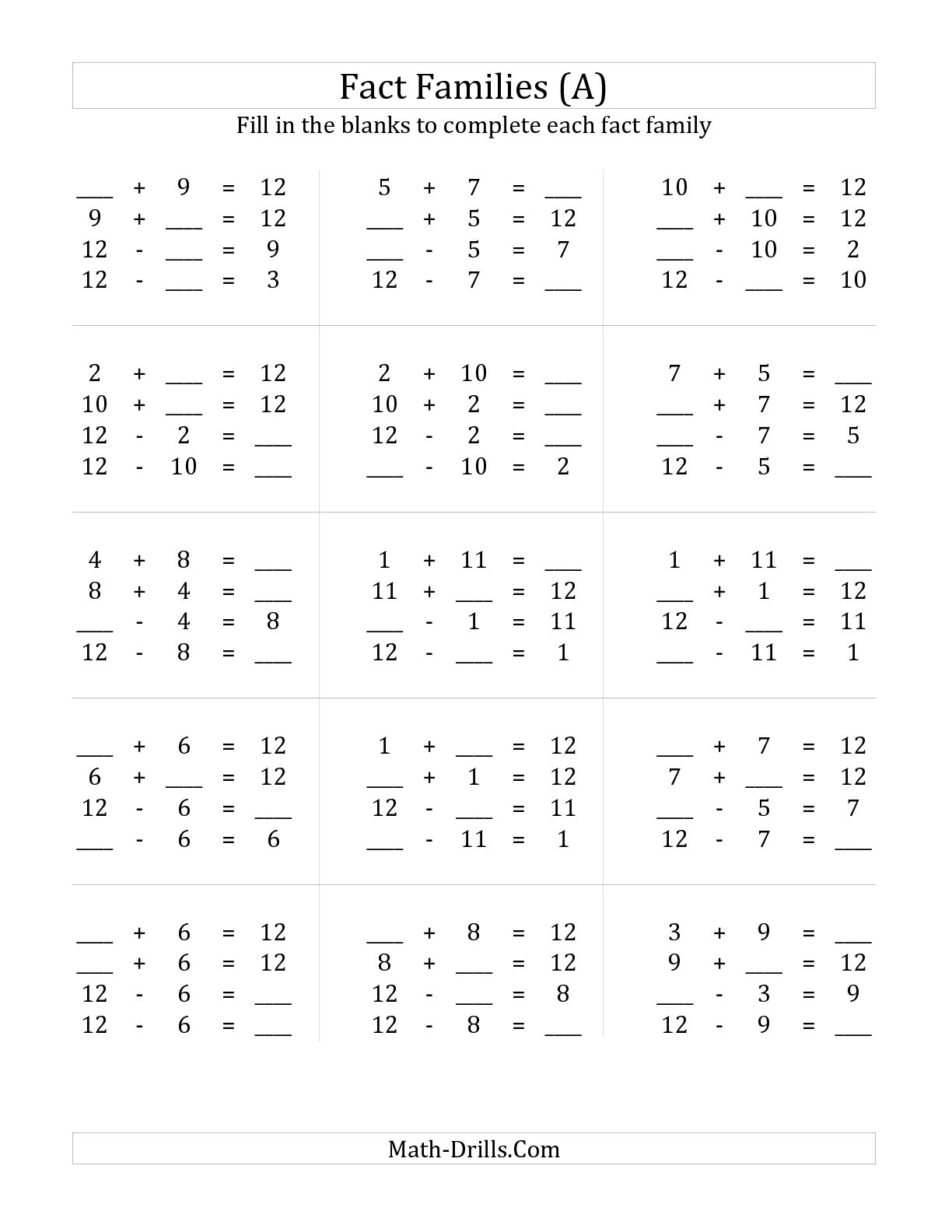 Multiplication Fact Families Worksheets Grade 4