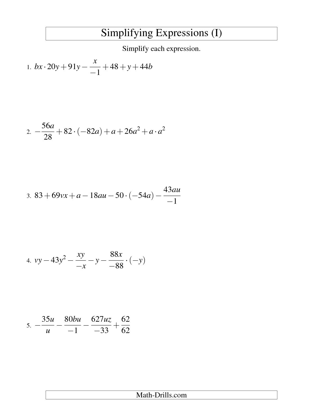 17 Best Images Of Algebraic Expressions Worksheets