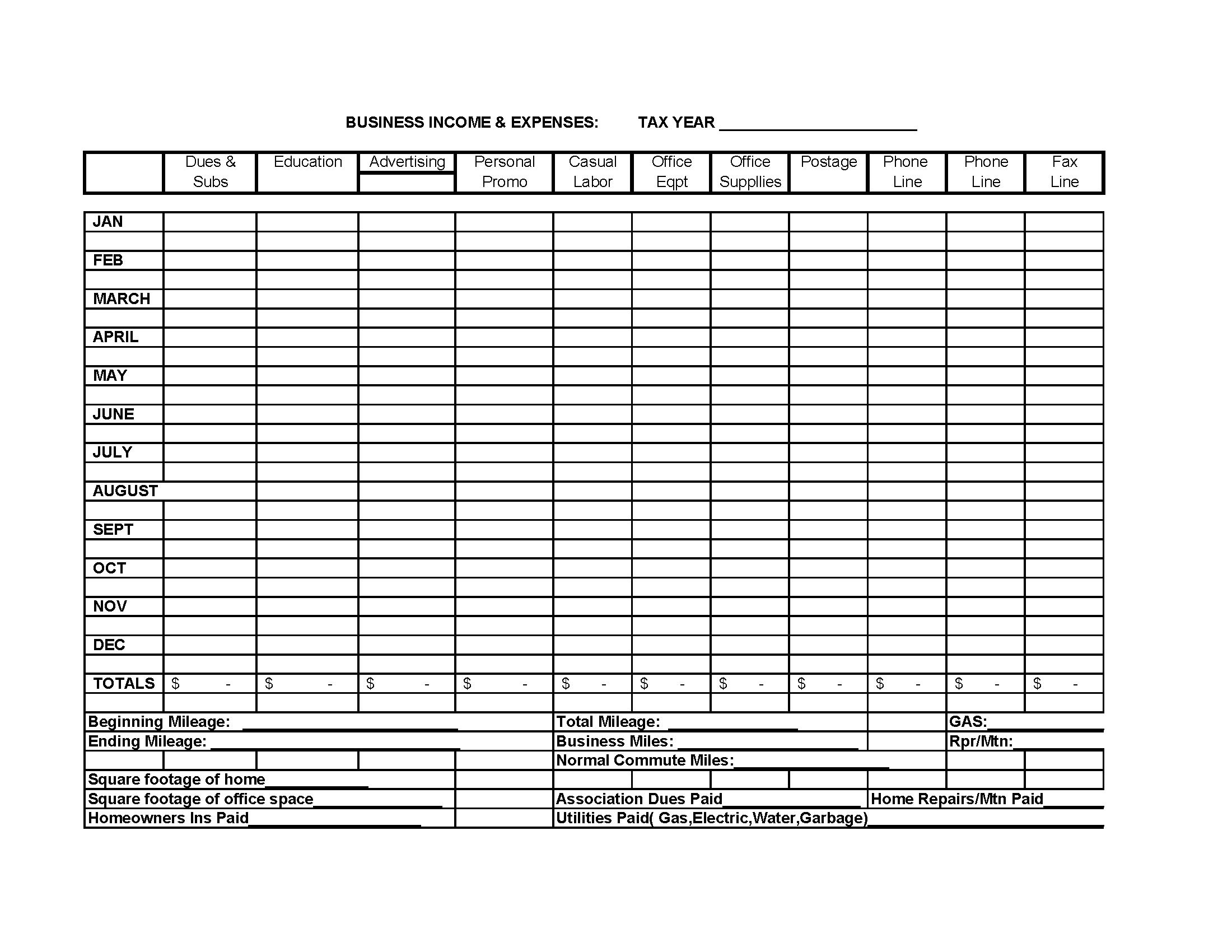 Itemized Deductions Worksheet Printable