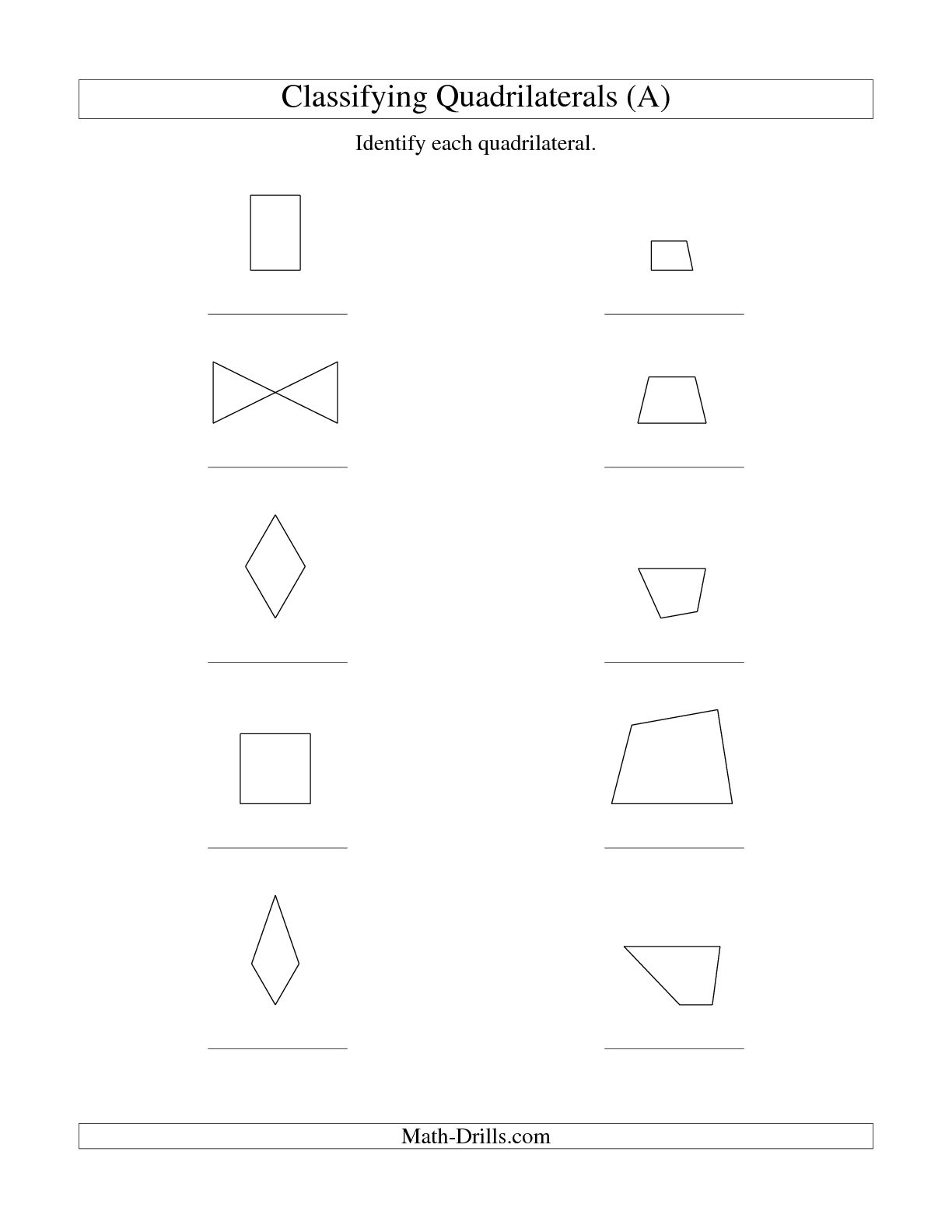 Quadrilaterals Worksheet More