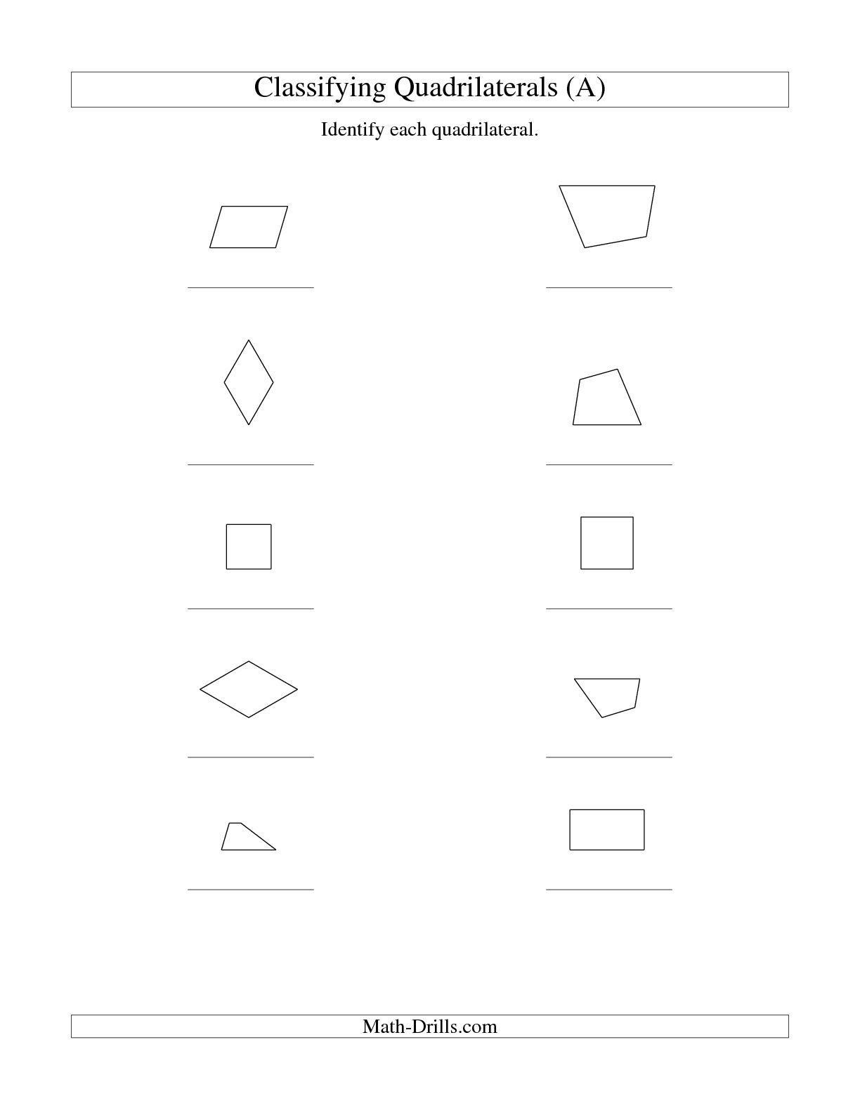 14 Best Images Of Geometry Quadrilaterals Worksheet