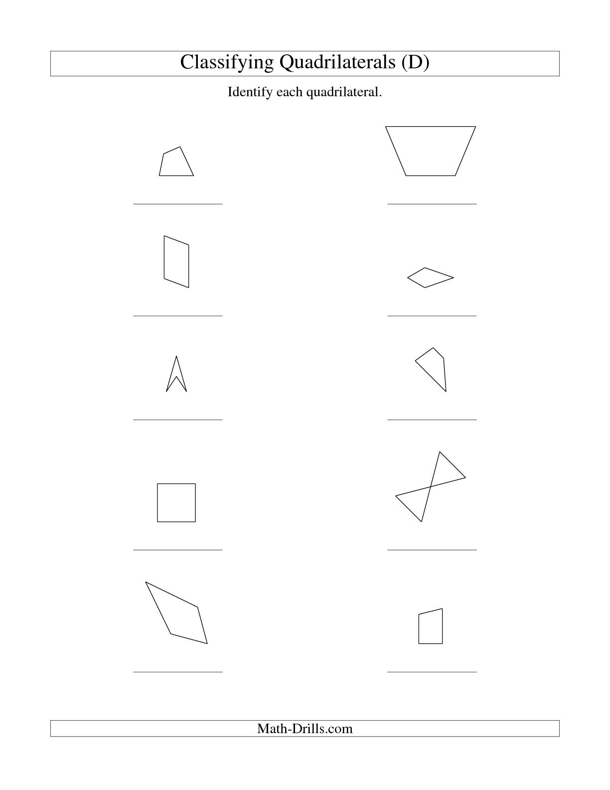 Geometry Quadrilateral Shapes Worksheets