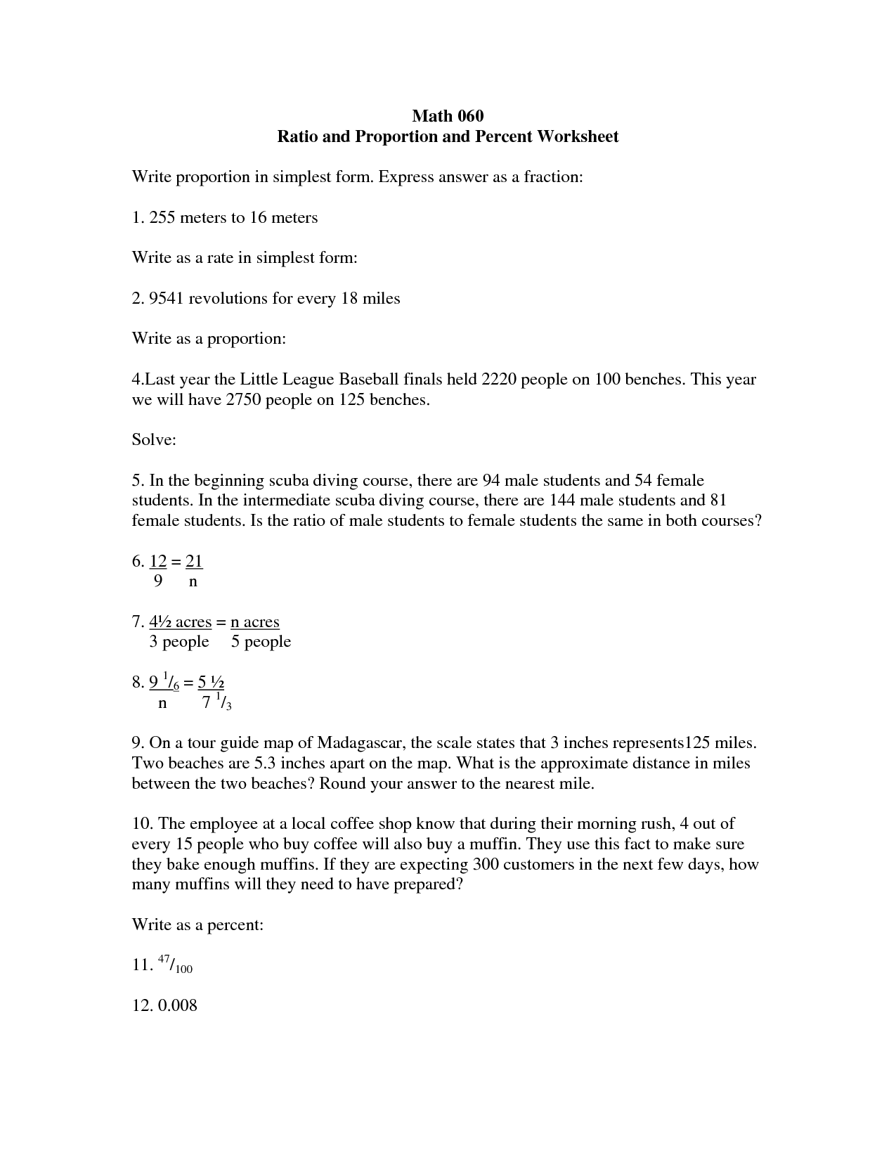 Worksheet On Word Problems On Ratio And Proportion