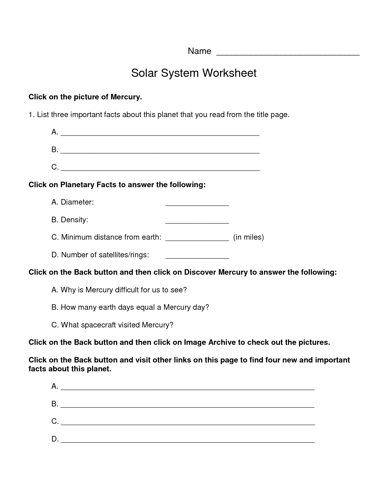 6 Best Images Of Planets Solar System Worksheets