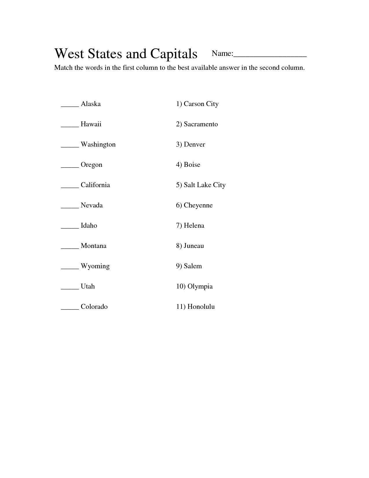 8 Best Images Of State Capitals Worksheets Answers