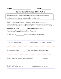 20 Best Images of Free Conjunction Worksheets First Grade ...